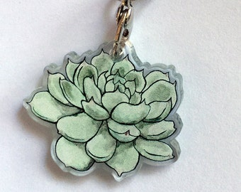 Succulent Acrylic Charm - Clear Double Sided Keychain