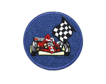 Racing Car Sew On / Iron On DIY Patch Embroidered Applique 7.5cm - RP33