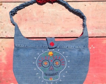 Embroidered Sugar Skull Denim Hobo Bag Purse Upcycled Vintage