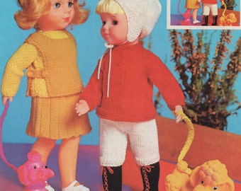 Dolls Clothes PDF Knitting Pattern : 10, 16 and 20 inch high Dolly . 4 Ply . Doll Outfit Knitting . Instant Digital Download