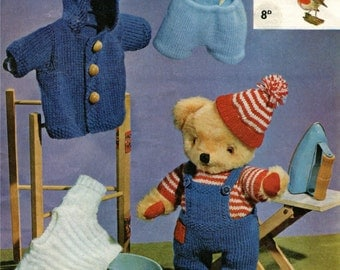 PDF Teddy Bear Clothes Knitting Pattern : Dungarees . Jacket . Jumpers . Hat . Shorts