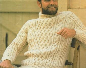 b63d571e9d457 Mens Aran Sweater PDF Knitting Pattern   Mans 32 - 46 inch chest ( 81 -  117cm ) . Aran Yarn . Cable Patterned Jumper . Digital Download