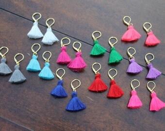 Coloful Tassel Earrings, Mini Tassel Earrings, Leverback Earrings, Cotton Tassel Earrings