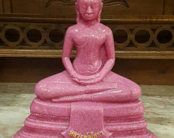 Thai Buddha statue pink marble stone Lp Sothorn// home decoration// Buddha figure for home meditation/ prayers. Thai art collectible gift