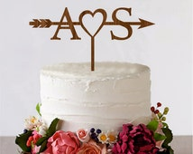 Arrow Cake Topper with Initials Wedding Arrow Cake Topper Personalized Topper Bridal Shower Cake Topper Rustic Wedding Arrow Cake Topper
