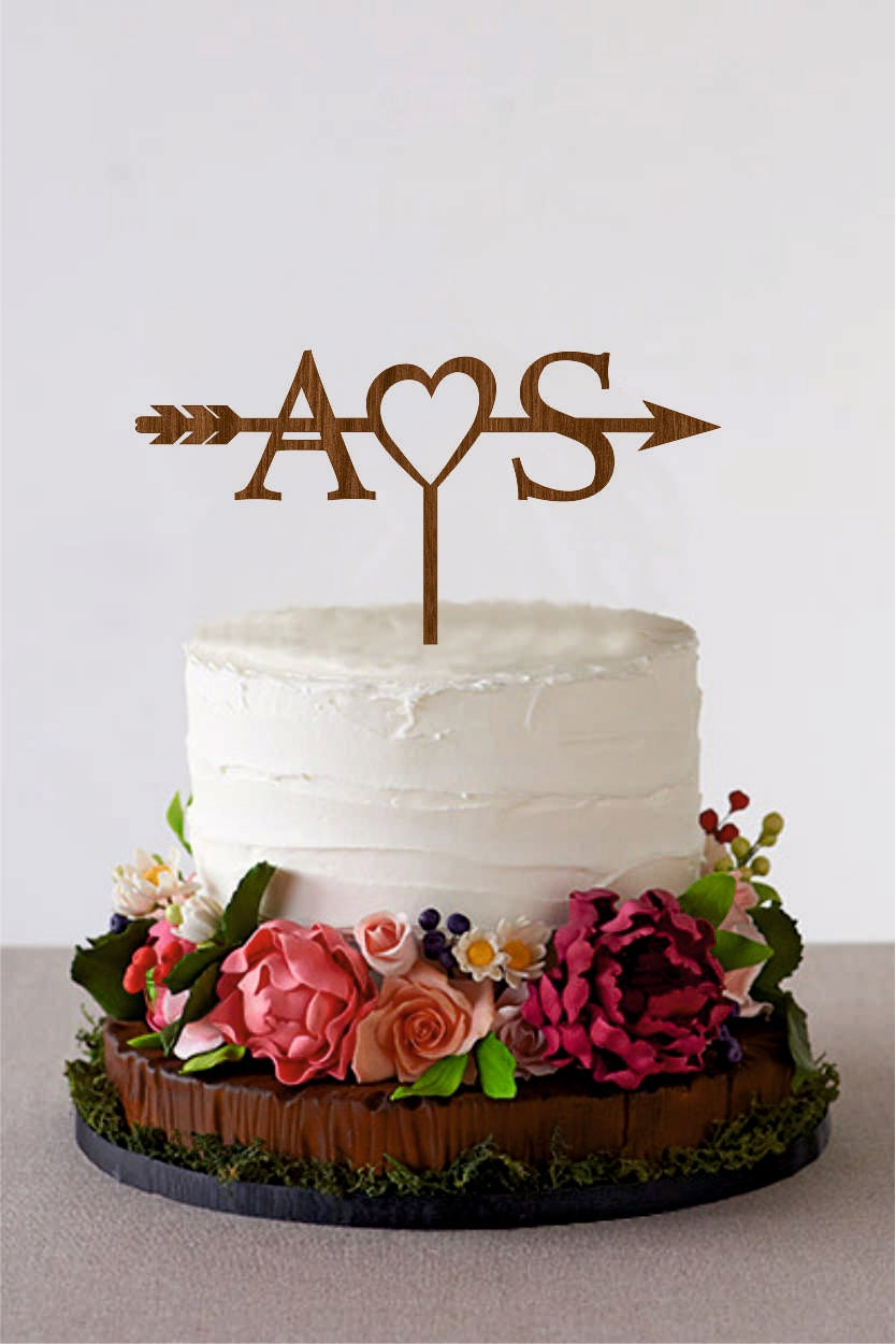Arrow Cake Topper With Initials Wedding Arrow Cake Topper