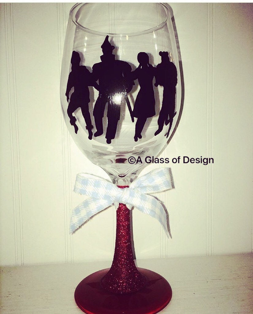 Hand Painted Wizard Of Oz Wine Glasses