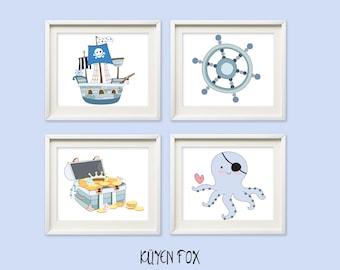 Blue pirate wall art - pirate nursery art - kids wall art - Nursery Decor - boy pirate decor - blue pirate Nursery art - pirate ship art