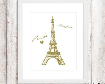Paris wall art - paris nursery art - kids wall art - Nursery Decor - name wall decor - girl room decor - initial print - pink paris art