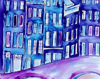 AMSTERDAM HOUSES Print, Netherlands, Amsterdam Canal, Dutch Houses, Blue and Purple City Print, Wall Art, Ltd Ed Art Print, by Sasha Barnes