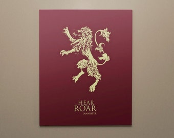 Game of Thrones Canvas Wall Art | House Lannister | Hear Me Roar | Game of Thrones House Sigil | Poster Print | READY TO HANG Canvas Art