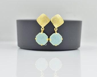 Aqua Chalcedony Earrings, Statement Chalcedony Earrings, Aqua Chalcedony Silver Earrings, Chalcedony Gold Earrings, Drop Chalcedony Earrings