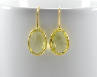 Lemon Quartz Earrings - Lemon Quartz Drop Earrings - Lemon Quartz Dangle Earring - Lemon Quartz Silver Earrings - Gold Lemon Quartz Earrings