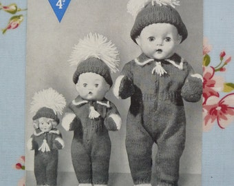 Vintage original 1950s Bestway knitting pattern A2591 Dolls Outfits