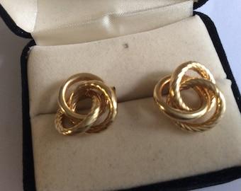 14k love knott yellow gold vintage earrings #878