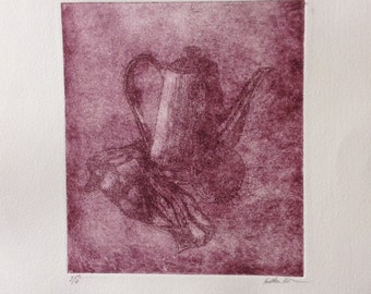 Still Life Etching Limited Edition Purple Print