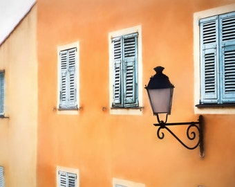 Menton France, turquoise shutters, lamp light, window shutters, orange, architecture, fine art photography, wall art, French photography