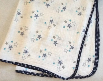 Baby Blanket Handmade, Blue Star Swaddling Blanket, Blue Swaddle Blanket Boys, Gauze Swaddling Blanket, Baby Gift, Baby Shower