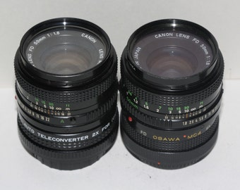 Canon FD 50mm f1.8 Lens and Converter Set