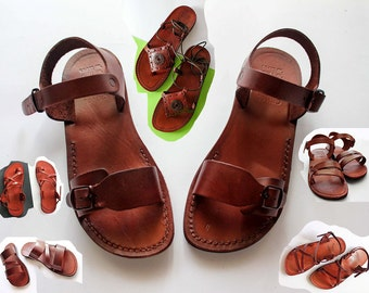 Clasic Jesus sandals ,sandals for women and men  ,  genuine leather sandals made  in Jerusalem .free shipping