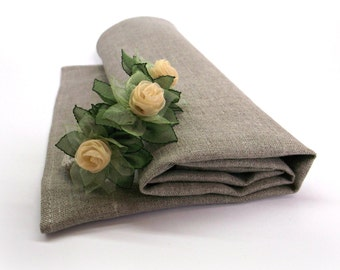 Set of Napkin and Napkin Ring Wedding Place Setting Decor Natural Flax Grey Napkin Flower Napkin Ring Holders 18 inch square 45 cm