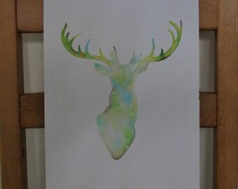 Deer Watercolor Original Painting