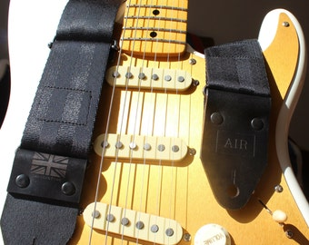 """The """"Midnight Black"""" Guitar Strap, Thick Leather Ends, Personalisation, Custom Engraving & Logo Options"""