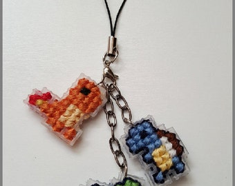 Cross Stitched Bulbasaur Squirtle Charmander Phone Charms