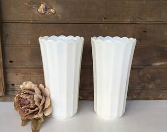 Pair of Vintage Milk Glass Vases