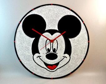 Mickey, Wall clock, Vinyl clock, Mickey face, Disney clock, Disney, Mickey art, Mickey Mouse, Wall art, Kids decor, MiniDotClocks