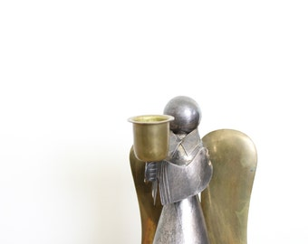 Vintage Brass Christmas Decor // Brass and Silver Angel Candle Stick Holder