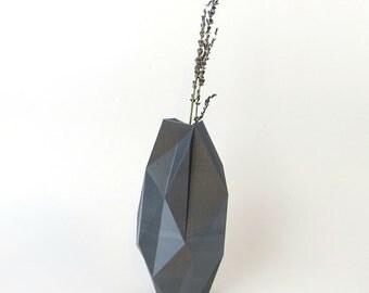 Modern art vase, grey geometric 3d printed vase, modern minimalist style, gunmetal grey plastic vase