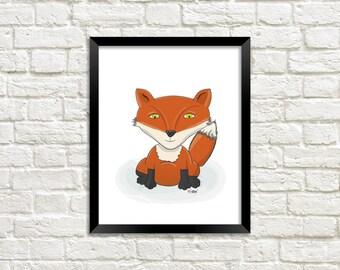 Cute Fox Printable, Fox Illustration, Cute Fox Illustration, Fox Instant Art, Fox Digital Print, Fox Digital Art, Woodland Digital Art , Fox