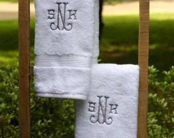 Monogrammed Hand Towel Set- Wedding Gift - Classic Monogram