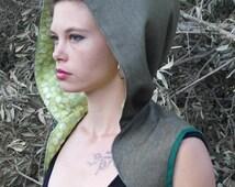 Green Upcycled Hooded Bolero