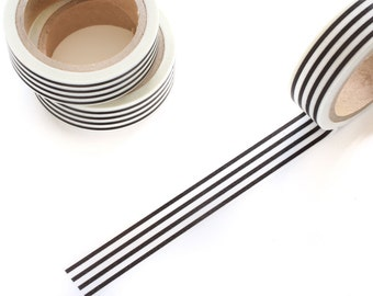 Black and White Stripes Washi Tape 15mm/ Masking Tape/ Deco Tape/ Spring Summer Washi Tape