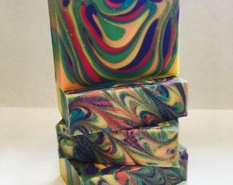 Sweet sunshine, cold process soap, rainbow soap, handmade soap, soap,