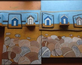 Beach huts & pebbles Mixed media piece