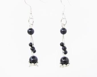 Sparkle Sandstone Navy Blue Beads Drop Dangle Earrings Surgical Steel