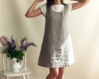 Linen Jumper Dress Sundress Linen Strap Dress Womens