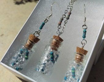 Upcycled/Recycled Bottled Resistor and Jewel Earrings/Necklace Set, Wearable Tech, Handmade Electronic Jewelry, Gift for engineer