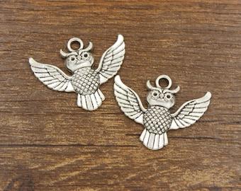 20pcs Owl Charm Antique Silver Tone 30x23mm - SH16