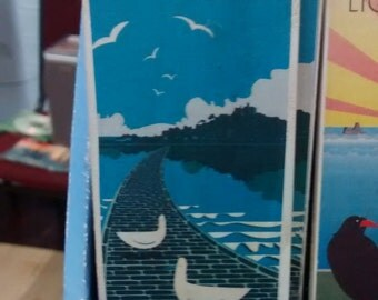 Cornish towns wood magnets : St Michaels Mount   Longships Lighthouse  Porthcurno    St Ives