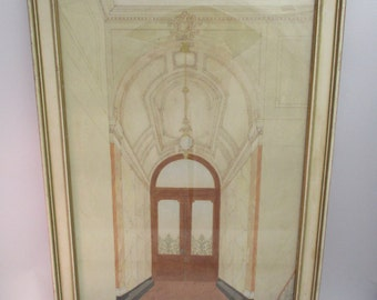 Vintage 16x23 Original Architectural Watercolor Grand Entrance 1900's building, doorway, molding, staircase, curved ceiling, New York?