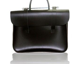 Real Leather - Music Case - Laptop Case - Messenger Bag - Music Bag - Black