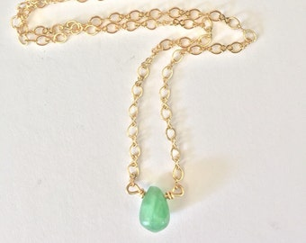 Chrysoprase necklace, green chrysoprase necklace, green gemstone necklace, genuine green gemstone necklace, green boho necklace