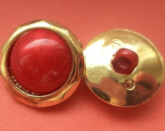 10 BUTTONS 18mm gold red (5044) button