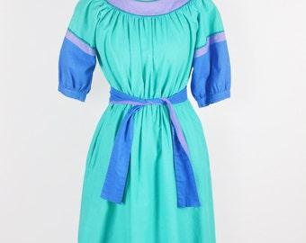 "1970's/80's Indian Cotton Colorblock Dress by Karavan/Waist 30"""