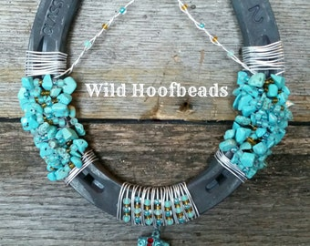 Turquoise stone and cowboy boot horseshoe