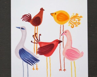 Bird-themed card with various birds in red, purple and pink